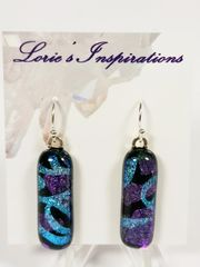 Dichroic Fused Glass Earrings : Hearts and Streamers