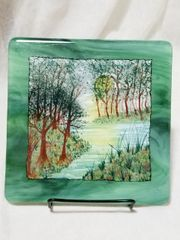 Fused glass Paintings: Lazy Summer River Bank