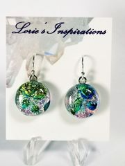 Dichroic Fused Glass Earrings: Champagne Bubbles