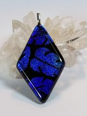 Dichroic Fused Glass Pendant: Jungle Leaves