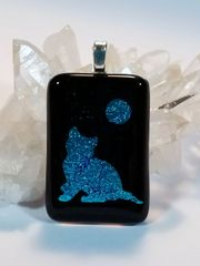 Dichroic Fused Glass Pendant: Teal Cat and Moon