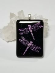 Dichroic Fused Glass Pendant: Dragonflies