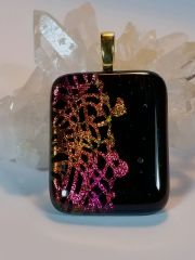 Dichroic Fused Glass Pendant: Chantilly Lace