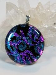 Dichroic Fused Glass Pendant: Streamers and Paisley Round