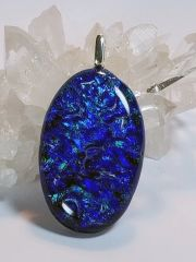 Dichroic Fused Glass Pendant: Bali Waters