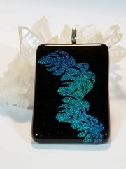 Dichroic Fused Glass Pendant: Hawaiian Leaves