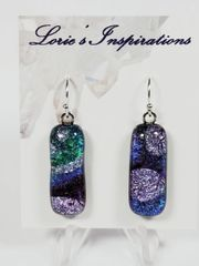 Dichroic Fused Glass Earrings: Northern Lights