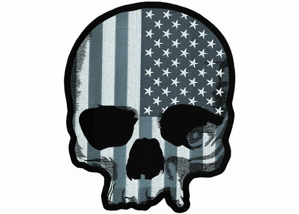 Large Gray Skull With Flag Back Patch