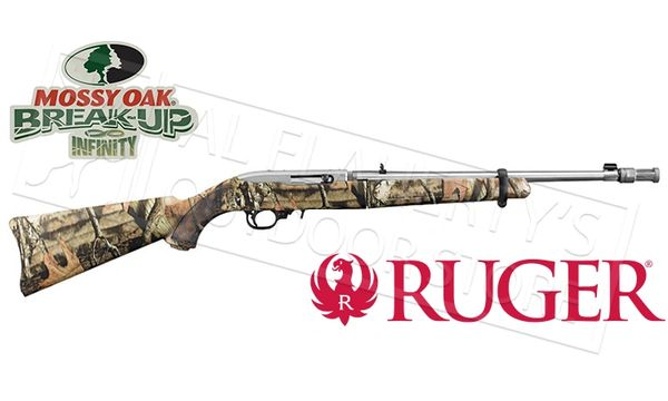 """RUGER STAINLESS 10-22 TAKEDOWN SEMI-AUTO .22 LR, 16.5"""" STAINLESS WITH SYNTHETIC MOSSY OAK CAMO TAKEDOWN STOCK, INCLUDES 10 RD. DET. MAG., ADJ."""