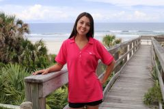 Ladies Pink V-Neck Polo