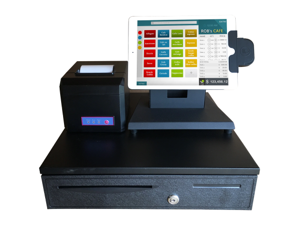 Datio Point of Sale Cash Drawer, Bluetooth Printer, Camera Scanner and Credit Card Reader with POS Software