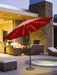 Galtech 9' Jockey Red Umbrella w/LED Lights & Antique Bronze Pole