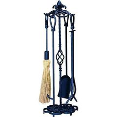 Uniflame 5 pc Heavy Weight Black Wrought Iron Fireset