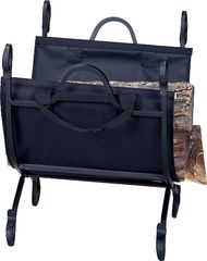 Uniflame Hammered Crock Black Log Holder w/ Canvas Carrier