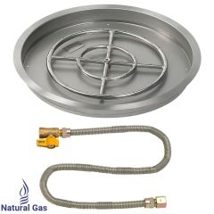 "American Fireglass 25"" Round Drop-In Pan w/Match Light Kit"