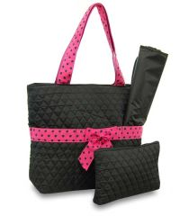 Quilted 3 Piece Diaper Bag - Black/Pink Polka Dot