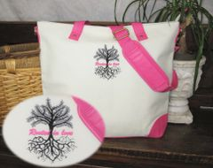"Embroidered ""Rooted in Love"" Tote Bag - Pink"