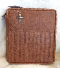 Crimson Truth Genuine Embossed Leather Bible Cover - Large Brown