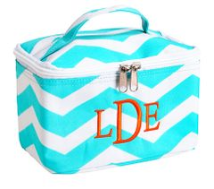 Personalized Large Aqua Chevron Cosmetic Bag