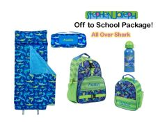 "Personalized ""Off to School"" 4-Piece Shark Package by Stephen Joseph"