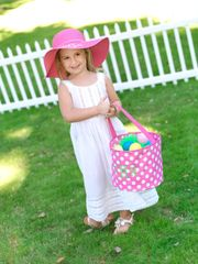 Personalized Pink White Polka Dot Easter Bucket
