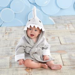 "Personalized ""Let the Fin Begin"" Hooded Shark Spa Robe - Gray"