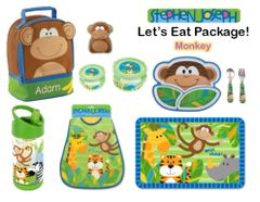 "Personalized ""Let's Eat"" 9-Piece Monkey Package"