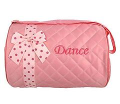 Personalized Light Pink Quilted Dance Duffel Bag