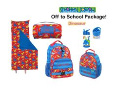 "Personalized ""Off to School"" 4-Piece Dinosaur Package by Stephen Joseph"