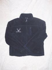 Men's Full Zipper Fleece Jacket with Air Force Emblem - Black