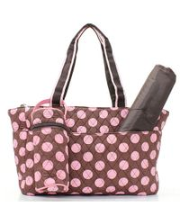 Quilted 3 Piece Diaper Bag - Chocolate Brown Pink Polka Dot