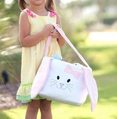 Personalized Plush Pink Bunny Easter Basket