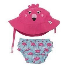 Personalized UPF 50+ Flamingo Swim Diaper & Sunhat Sets