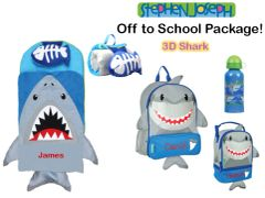 "Personalized ""Off to School"" 4-Piece 3D Shark Package by Stephen Joseph"