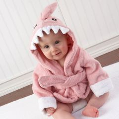 "Personalized ""Let the Fin Begin"" Hooded Shark Spa Robe - Pink"