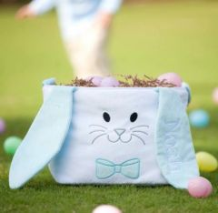Personalized Plush Blue Bunny Easter Basket