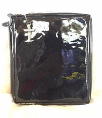 Crimson Truth Genuine Patent Leather Bible Cover - Black
