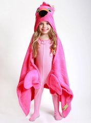 Children's Personalized Franny the Flamingo Hooded Towel