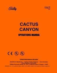 CACTUS CANYON PINBALL MANUAL (REPRINT)