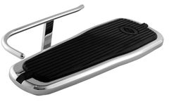 HEEL GUARD, CARL MILES 5010R (RIGHT side), Chrome Turn-Out Style Heel Guard – Harley Davidson 2005 thru 2017 Deluxe tapered footboard