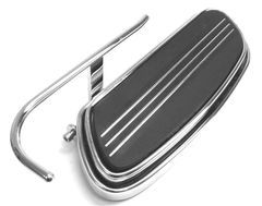 HEEL GUARD, CARL MILES 9010R (RIGHT side), Chrome Turn-Out Style Heel Guard - Harley Davidson Streamliner footboard