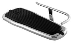 HEEL GUARD, CARL MILES 5011L (LEFT side), Chrome Turn-Out Style Heel Guard – H-D 2005 thru 2017 Deluxe Tapered Footboards