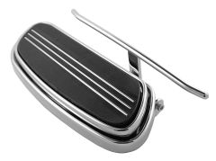 HEEL GUARD, CARL MILES 3011L (LEFT side), Chrome Straight Style Heel Guard - H-D Streamliner and Traditional footboards