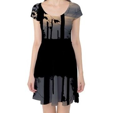 Reflection of a Treeline Capsleeve Dress