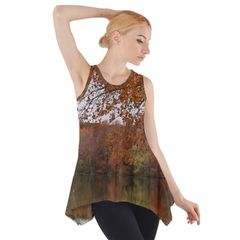 Fall Reflection Sleeveless Swing Tunic