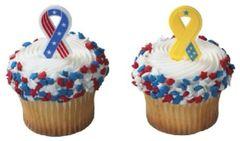 Patriotic Ribbon Cupcake Picks 12 Piece