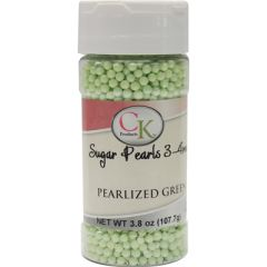 Green Pearlized Pastel Edible Sugar Pearls 3mm 1 oz