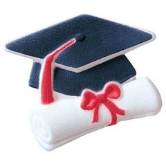 Cap & Scroll 1 inch Graduation Sugar Decorations 12 Piece
