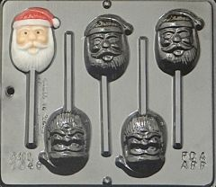 Santa Face 4 Cavity Lollipop Chocolate Craft Candy Mold