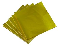 Gold 8x8 inch Candy Foil Squares 125 piece